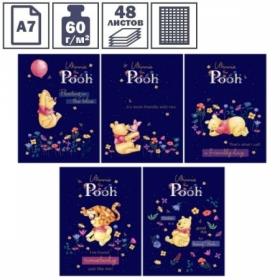 """Блокнот А7 на склейке Hatber """"Disney. Винни и его друзья"""", 3-х цветный блок, 48 листов"""