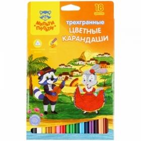 """Карандаши цветные Мульти-Пульти """"Енот в Испании"""", 18 цветов, трехгранные, заточенные"""