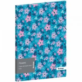 """Папка для тетрадей на резинке Berlingo """"Flowers"""" А5+, 600 мкм"""