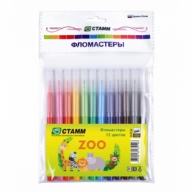"""Фломастеры Стамм """"ZOO"""" смываемые, 12 цветов"""