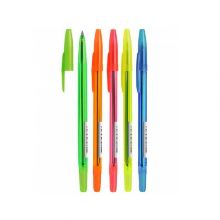 """Ручка шариковая Стамм """"511 Neon"""" 1 мм синяя, ассорти"""