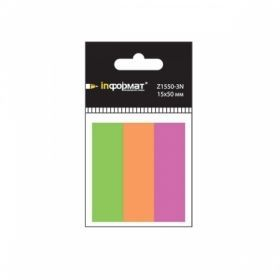 Закладки клейкие inФОРМАТ 15х50 мм, 3 цвета по 40 шт.