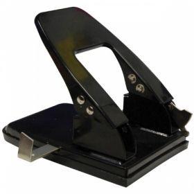 Дырокол OfficeSpace 30 листов металлический черный с линейкой