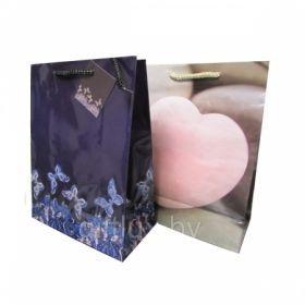 """Пакет подарочный ламинированный """"Сердечки/бабочки"""", размер М, в ассортименте"""