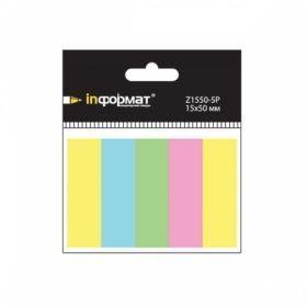 Закладки клейкие бумажные inФОРМАТ 15х50 мм 5 цветов по 40 шт.