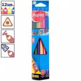 """Набор цветных карандашей с точилкой """"Color Peps"""" 12 цветов, заточенные"""
