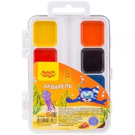 """Краски акварельные 8 цветов """"Енот в Красном море"""", без кисти в пластиковой упаковке"""