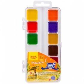 """Краски акварельные 12 цветов """"Енот в Красном море"""", без кисти в пластиковой упаковке"""