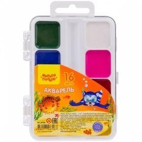 """Краски акварельные 16 цветов """"Енот в Красном море"""", без кисти в пластиковой упаковке"""
