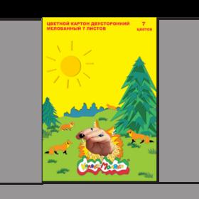 Набор цветного картона мелованного двухстороннего Каляка-Маляка 7 цветов, 7 листов