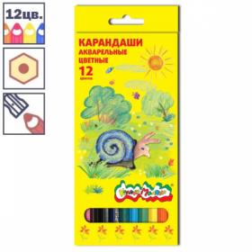 Набор акварельных цветных карандашей Каляка-Маляка 12 цветов, заточенные