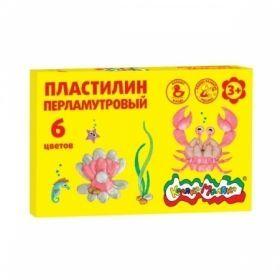 Пластилин перламутровый плавающий Каляка-Маляка 6 цветов 72 г, со стеком