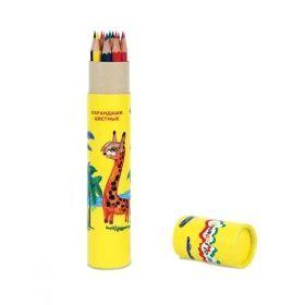Набор цветных карандашей Каляка-Маляка 12 цветов в тубусе с точилкой, заточенные