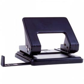 Дырокол OfficeSpace 20 листов металлический черный с линейкой