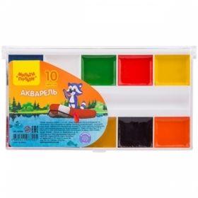 """Краски акварельные 10 цветов """"Енот на озере"""", без кисти в пластиковой упаковке"""