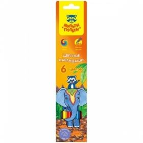 """Карандаши цветные """"Енот в Индии"""" 6 цветов, заточенные"""