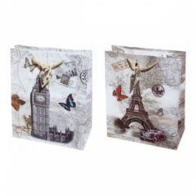 """Пакет подарочный ламинированный """"Города"""", размер L, 2 дизайна"""