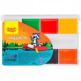 """Краски акварельные """"Енот на озере"""" 8 цветов, без кисти в пластиковой упаковке"""