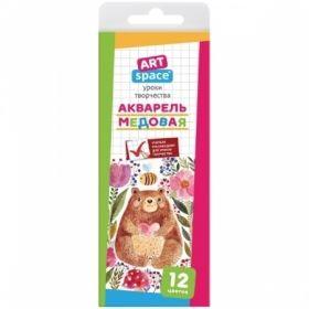 """Акварель медовая """"ArtSpace"""" 12 цветов, без кисти в картонной упаковке"""