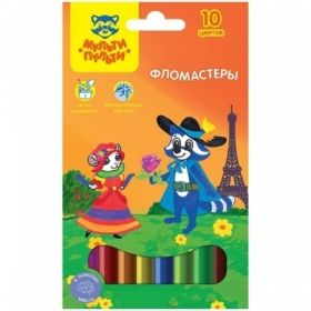 """Фломастеры 10 цветов """"Енот во Франции"""" в картонной упаковке с европодвесом"""