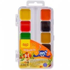 """Краски акварельные """"Енот в Красном море"""" 10 цветов, без кисти в пластиковом пенале"""