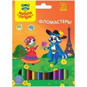 """Фломастеры 12 цветов """"Енот во Франции"""" в картонной упаковке с европодвесом"""
