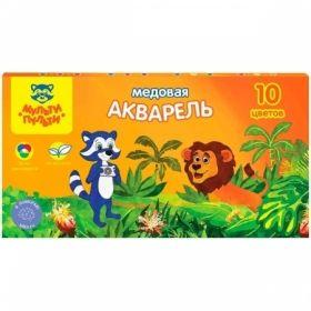 """Акварель медовая """"Енот в джунглях"""" 10 цветов, без кисти в картонной упаковке"""