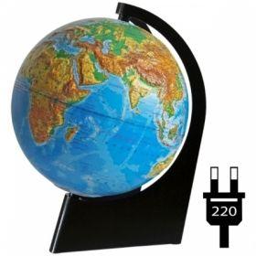 """Глобус физический рельефный """"Глобусный мир"""" 21 см с подсветкой на треугольной подставке"""