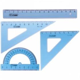 Набор чертежный малый Стамм (2 треугольника, линейка 16 см, транспортир)