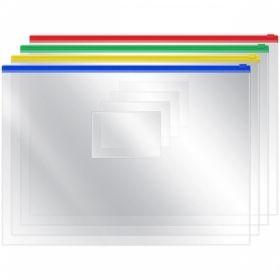 Папка-конверт на молнии A4 OfficeSpace, 120 мкм, прозрачная в ассортименте