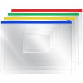 Папка-конверт на молнии A5 OfficeSpace, 120 мкм, прозрачная в асортименте
