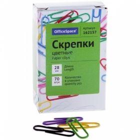 Скрепки OfficeSpace цветные 28 мм, 70 шт