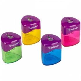 """Точилка пластиковая Berlingo """"DoubleColor"""" с 2 отверстиями и контейнером, ассорти"""
