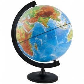Глобус физико-политический рельефный Глобусный мир, 25 см, с подсветкой на круглой подставке