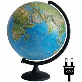 Глобус физико-политический рельефный Глобусный мир, 32 см, с подсветкой на круглой подставке