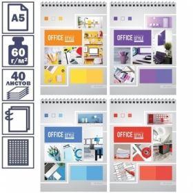 "Блокнот А5 ArtSpace ""Офис. Яркие краски"" в клетку на гребне, 40 листов"