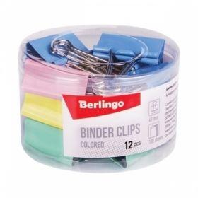 Зажимы для бумаг цветные Berlingo в пластиковом тубусе, 12 шт, в ассортименте