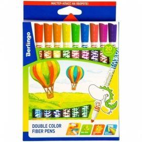 """Фломастеры двусторонние Berlingo """"Воздушные шары"""", 20 цветов 10 штук"""