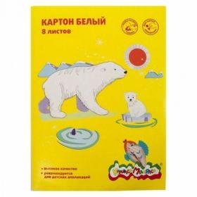 Картон белый немелованный А4 Каляка-Маляка в папке, 8 листов