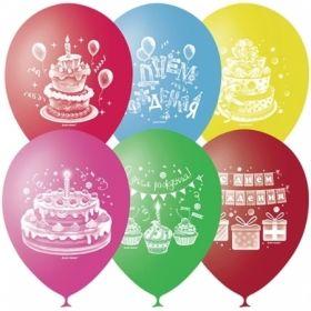"""Воздушные шары Поиск """"С Днем Рождения"""" M10/25 см, пастель+декор, 50 шт"""