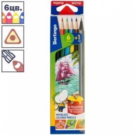 """Карандаши пластиковые Berlingo """"Корабли"""", 6 цветов+1 чернографитный HB, заточенные"""