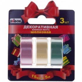 Клейкая лента декоративная Unibob 15 мм х 5 м, разноцветная шелковая, 3 шт