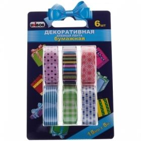 Клейкая лента декоративная Unibob 15 мм х 5 м, разноцветная бумажная, 6 шт