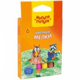 """Набор цветного мела Мульти-Пульти """"Енот на опушке леса"""", круглый, 6 цветов"""