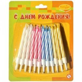 Свечи для торта с держателями ПатиБум Мини 2-х цветные,24 шт
