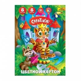 Картон цветной А4 Creativiki 8 листов, 8 цветов, 190 г/м2
