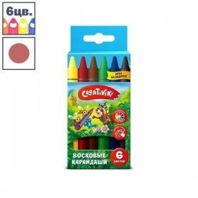 Набор восковых карандашей Creativiki, 6 цветов