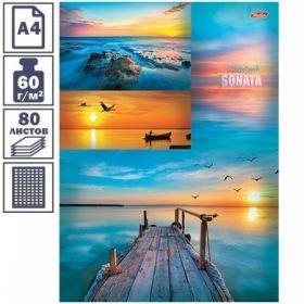 """Бизнес-блокнот А4 Hatber """"Морская соната"""", 80 листов, 5-ти цветный блок"""