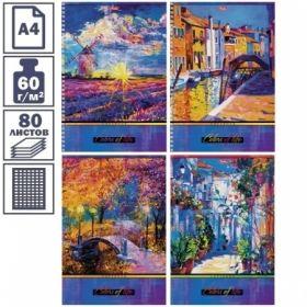 """Тетрадь А4 в клетку на скрепке Hatber """"Colors of life"""", 80 листов"""