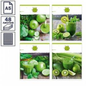 Тетрадь А5 в клетку на скрепке БиДжи GREEN MENU, 48 листов